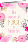 Nurses Day Card - Pretty Pink Flowers and Gold Sparkle card