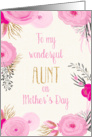 Mother's Day Card for Aunt - Pretty Pink Flowers and Gold Sparkle card