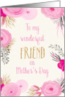 Mother's Day Card for Friend - Pretty Pink Flowers and Gold Sparkle card