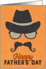 Hipster Father's Day Card - Hat Glasses Mustache - Orange card