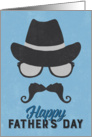 Hipster Father's Day Card - Hat Glasses Mustache - Blue card