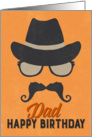Dad Birthday Card - Hipster Style Hat Glasses Mustache - Orange card