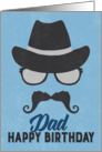 Dad Birthday Card - Hipster Style Hat Glasses Mustache - Blue card