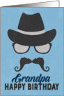 Grandpa Birthday Card - Hipster Style Hat Glasses Mustache - Blue card