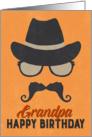 Grandpa Birthday Card - Hipster Style Hat Glasses Mustache - Orange card