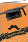 Hipster Style Graduation Congratulations with Gray Mustache card