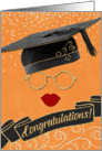 Hipster Style Graduation Congratulations with Red Lips card