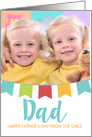 Father's Day Card - Add Own Text and Photo - Colorful Bunting card