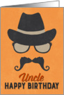 Uncle Birthday Card - Hipster Style Hat Glasses Mustache - Orange card