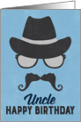 Uncle Birthday Card - Hipster Style Hat Glasses Mustache - Blue card