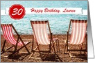 Customizable Birthday Card - Add Age and Text - Sun Sea and Deckchairs card