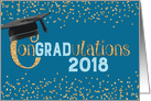 Graduation Congratulations 2015 - Text Hat and Gold Sparkle Effect card