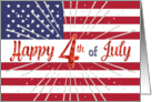 Happy 4th of July Card - American Flag - Red Blue White Silver card