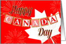 Happy Canada Day - Text Banner and Gold Sparkle Effect card