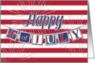 Happy 4th of July - Text Banner and Silver Sparkle Effect card