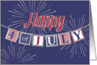 Happy 4th of July - American Flag Colors and Text Banner card