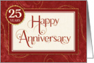 Employee Anniversary 25 Years - Text Swirls Damask and Sparkle card