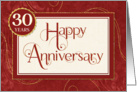 Employee 30 Years Anniversary - Text Swirls Damask and Sparkle card