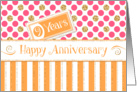 Employee Anniversary 9 Years - Orange Stripes Pink Dots Gold Sparkle card