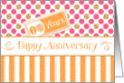 Employee Anniversary 10 Years - Orange Stripes Pink Dots Gold Sparkle card
