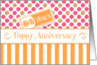 Employee Anniversary 20 Years - Orange Stripes Pink Dots Gold Sparkle card