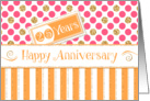 Employee Anniversary 25 Years - Orange Stripes Pink Dots Gold Sparkle card