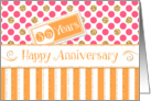 Employee Anniversary 35 Years - Orange Stripes Pink Dots Gold Sparkle card
