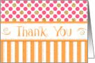 Business Thank You - Orange Stripes Pink Dots Gold Sparkle card