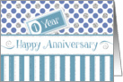 Employee Anniversary 1 Year - Jade Stripes Blue Dots Silver Sparkle card