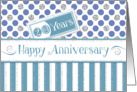 Employee Anniversary 20 Years - Jade Stripes Blue Dots Silver Sparkle card