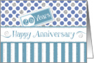 Employee Anniversary 25 Years - Jade Stripes Blue Dots Silver Sparkle card