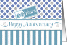 Employee Anniversary 30 Years - Jade Stripes Blue Dots Silver Sparkle card