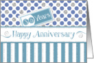 Employee Anniversary 35 Years - Jade Stripes Blue Dots Silver Sparkle card
