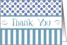 Business Thank You - Jade Stripes Blue Polka Dots Silver Sparkle card