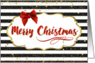 Christmas Card - Merry Christmas Red Bow and Black and White Stripes card