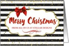 Custom Business Christmas Card - Text Red Bow Black and White Stripes card