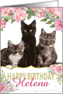Custom Birthday Card - Add Own Photo and Name - Pretty Pink Flowers card