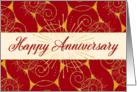 Employee Anniversary - Swirls in Red and Cream card