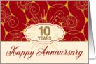 Employee Anniversary 10 Years - Red Swirls card