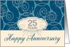 Employee Anniversary 25 Years - Blue Swirls card