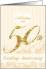 50th Wedding Anniversary Party Invitation - Golden card