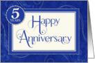 Employee Anniversary 5 Years - Text Swirls and Damask - Blue card