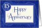 Employee Anniversary 15 Years - Text Swirls and Damask - Blue card
