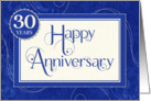 Employee Anniversary 30 Years - Text Swirls and Damask - Blue card