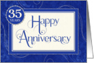Employee Anniversary 35 Years - Text Swirls and Damask - Blue card