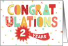 Employee Anniversary 2 Years - Colorful Congratulations card
