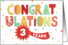 Employee Anniversary 3 Years - Colorful Congratulations card