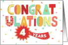 Employee Anniversary 4 Years - Colorful Congratulations card