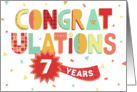 Employee Anniversary 7 Years - Colorful Congratulations card