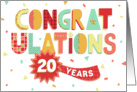 Employee Anniversary 20 Years - Colorful Congratulations card